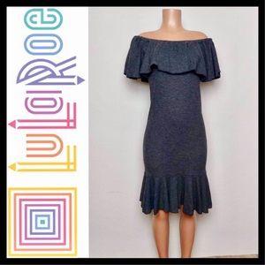 LuLaRoe Cici Mermaid Dress Small 6-8 Black Waffle
